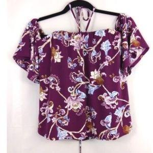 White House Black Market purple floral blouse 2